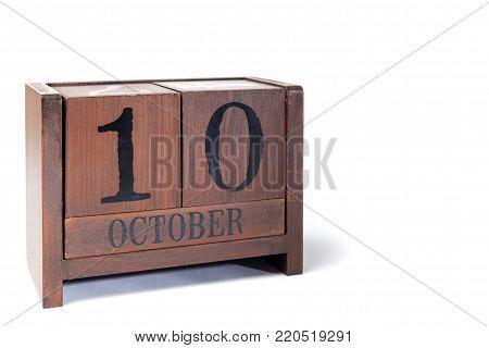 Wooden Perpetual Calendar set to October 10th