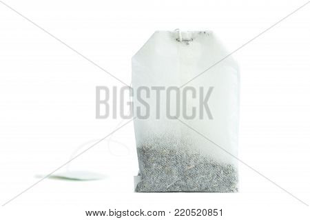 Close-up of an unused tea bag isolated on white background.