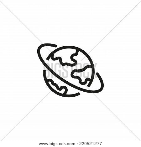 Line icon of earth with orbit. Planet, globe, international business. Astronomy concept. Can be used for topics like nature, geography, cosmos