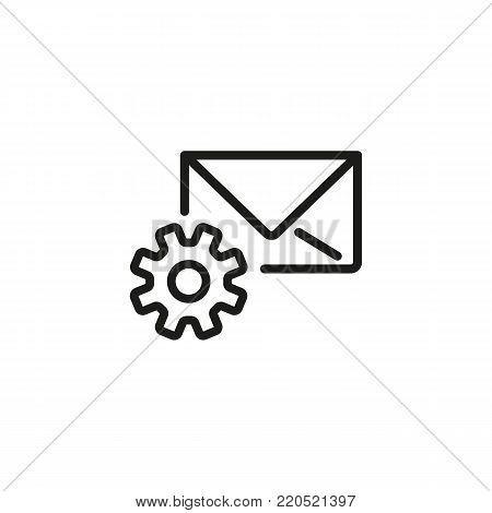 Icon of email configuration. Mail setting, gear wheel, letter, cog. Mail options concept. Can be used for topics like computer interface, correspondence, account, setting parameters