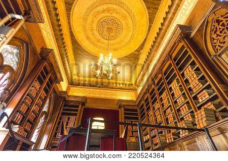 MONSERRATE, PORTUGAL - October 3, 2017: The library room of the Monserrate Palace, an exotic palatial villa located near Sintra, Portugal