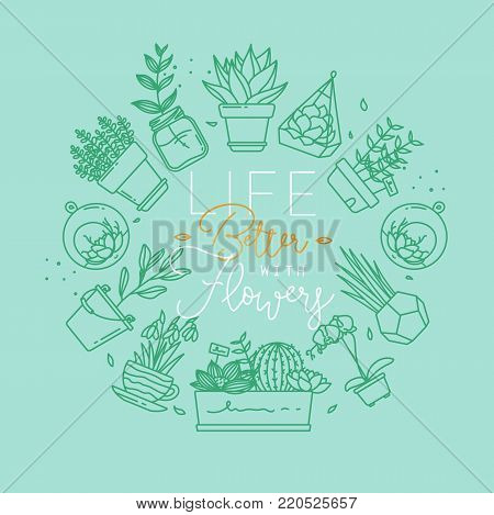 Monogram flat plants in pots lettering life better wirth flowers drawing with menthol on turquoise background