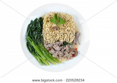 Isolated of Asia food , Instant Yakisoba noodle topped kale soup with minced pork and pig spleen call Rad Naa Yakisoba.