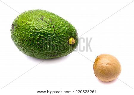One whole avocado (Persea americana, alligator pear) with a stone isolated on white background