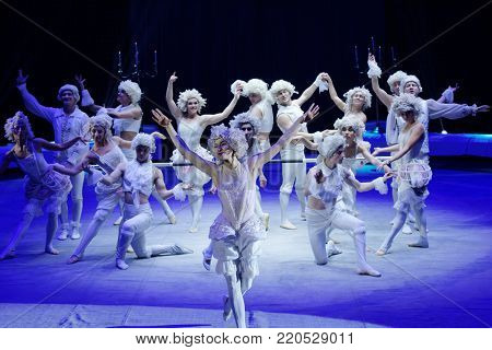ST. PETERSBURG, RUSSIA - DECEMBER 28, 2017: Ballet of Great Moscow circus in the show Snow Queen. The show created by Zapashny brothers circus