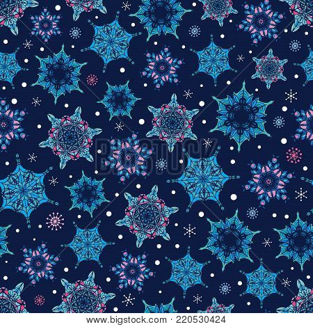 Vector holiday dark blue hand drawn christmass snowflakes repeat seamless pattern background. Can be used for fabric, wallpaper, stationery, packaging. Surface pattern design.