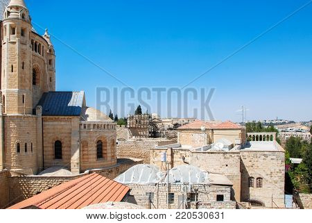 JERUSALEM, ISRAEL - AUGUST 05, 2010: Horizontal picture of Cathedral of St James and local traditional houses, located in Armenian Quarter of Jerusalem, Israel
