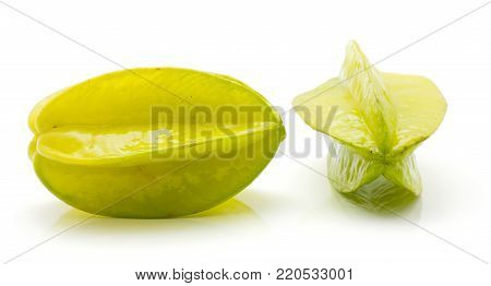 Fresh carambola isolated on white background compare