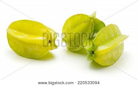 Group of three carambola isolated on white background