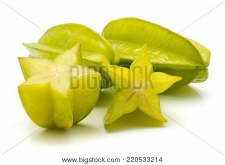 Two carambola two halves isolated on white background