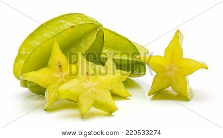 Sliced carambola isolated on white background three star slices and two whole