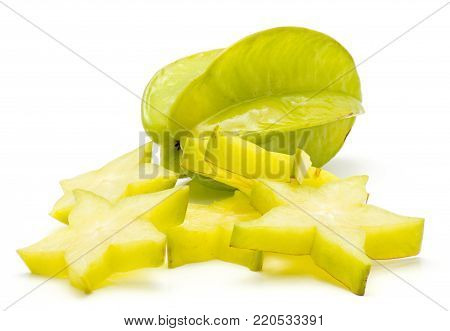Sliced carambola isolated on white background one whole and a lot of star slices