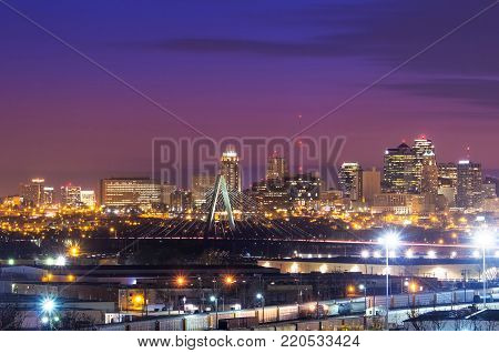 Cityscape view of the Kansas City, Missouri skyline with the Kit Bond Bridge as part of the scene