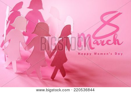 Sweet pink  girl paper doll on pink background  for Happy  Women ' s day symbol to promote  in 8 march month campaign