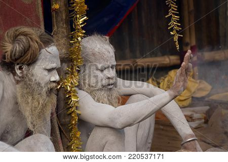BABUGHAT, KOLKATA, WEST BENGAL / INDIA - 11TH JANUARY 2015 : Portrait of Hindu Sadhu with holy ash applied on face and body, aginst brown background.