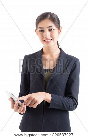 Asian Business Woman Smiling, Woman Stand And Using Smartphone, Isolated On White Background, Woman