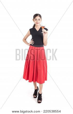 Portrait of Asian Woman with beautiful dress. Woman Fashion Concept. Isolated on White background.