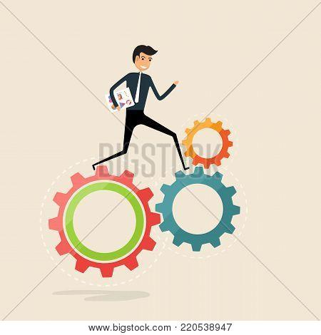Running business work concept.Happy businessman and cogwheels sign.Businessman running on gear mechanism.Cogwheels working.Business vector concept illustration