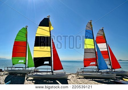 Catamarans with colorful sails resting on a beach in Key Biscayne,Florida