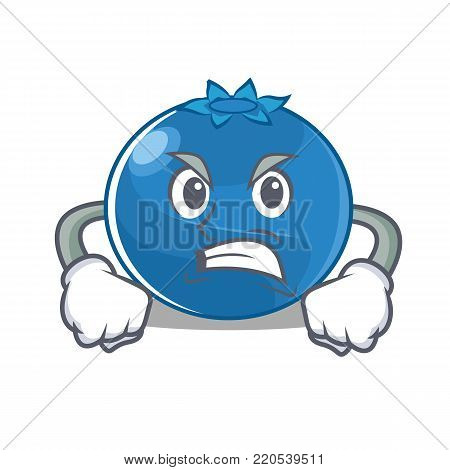 Angry blueberry character cartoon style vector illustration