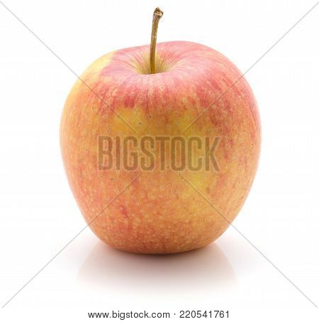 One apple (Evelina variety) isolated on white background yellow red with stem