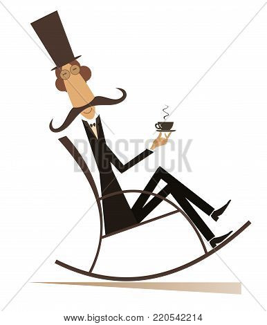 Man rests in the rocking chair with coffee isolated on white illustration. Mustache man in the top hat sits in the rocking chair and has a cup of coffee