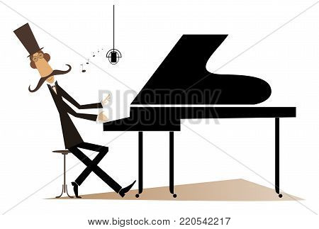 Mustache pianist is playing music on piano and singing isolated. Mustache gentleman in the top hat is playing music on piano and singing