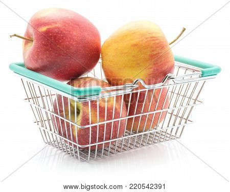 Four apples (Evelina variety) in a shopping basket isolated on white background