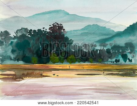 Watercolor painting original landscape colorful of trees meadow forest, riverside in mountain and  season nature blue sky background. Hand Painted Impressionist, illustration.
