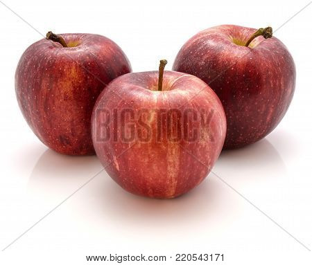 Three Gala apples isolated on white background
