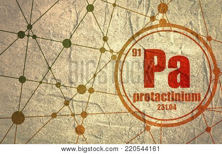Protactinium chemical element. Sign with atomic number and atomic weight. Chemical element of periodic table. Molecule And Communication Background. Connected lines with dots.