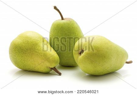 Three green pears isolated on white background poster