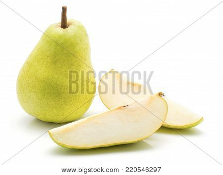Green pear and two slices isolated on white background poster