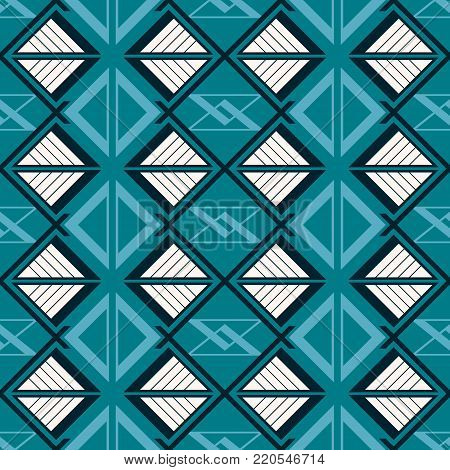 Abstract seamless complex pattern of triangular geometric elements in blue and white colors
