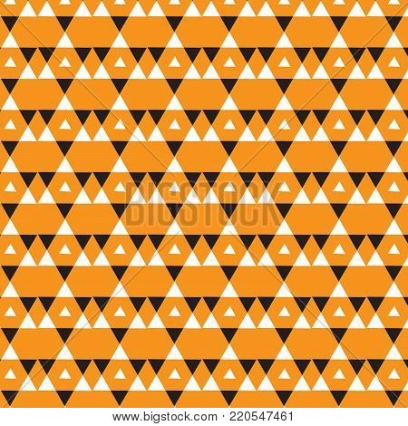 double white triangle and one triangle striped orange big triangle overlapped with small white triangle inside pattern black background vector illustration image