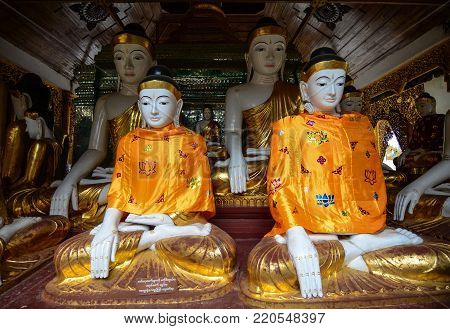Buddha Statues In Shwedagon Pagoda
