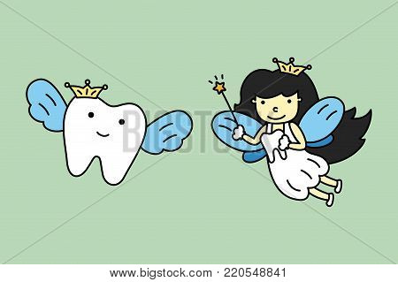 Cute Tooth Fairy Flying With Healthy Teeth