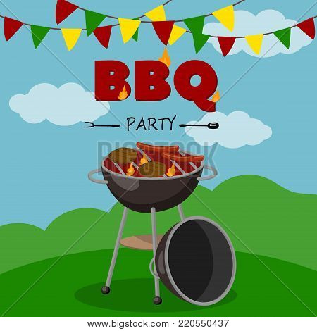 BBQ party banner, cartoon style poster, welcome invitation to barbecue picnic vector Illustration with flaming BBQ grill