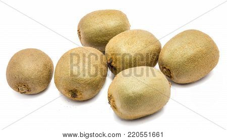 Group of whole fuzzy kiwi fruits (Chinese gooseberry) isolated on white background