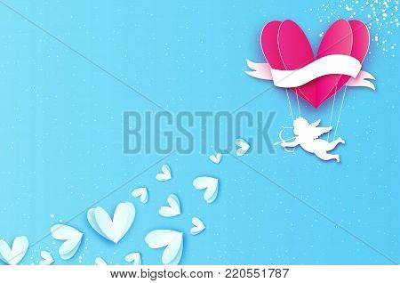 Love Heart Pink hot air balloon flying. Flying Cupids - little angesl in paper cut style. Origami little boy - Cherub. Happy Valentine day. Ribbon tape for text. Romantic Holidays. 14 February on blue. Vector