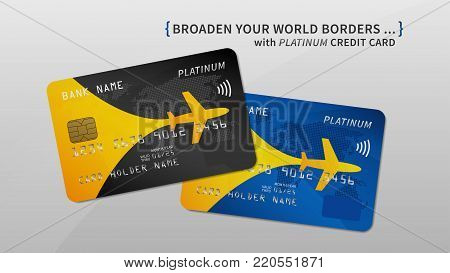 Air rewards bank card vector illustration. Bank credit debit card with air miles promotion creative concept. Plastic credit card with bonuses for frequent air travel graphic design.