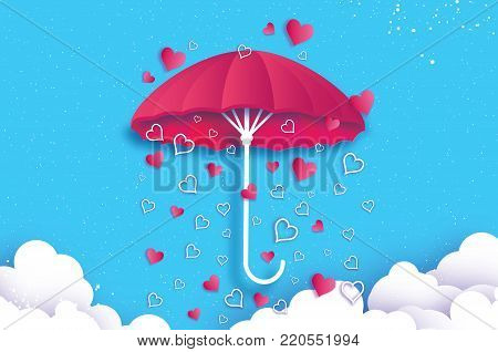 Happy Valentines day. Pink umbrella. Air with Love raining. Origami Heart Rain drop. Parasol. Happy Monsoon season. Heart in paper cut style on blue background. Cloud. Romantic Holidays.14 February. Vector