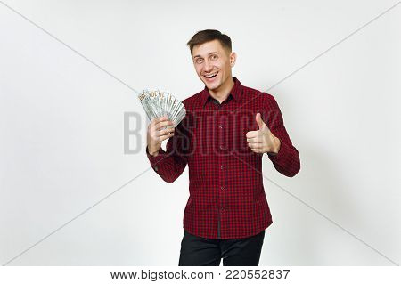 Handsome Cheerful Positive Satisfied Caucasian Lucky Young Happy Business Man 25-30 Years In Red Shi