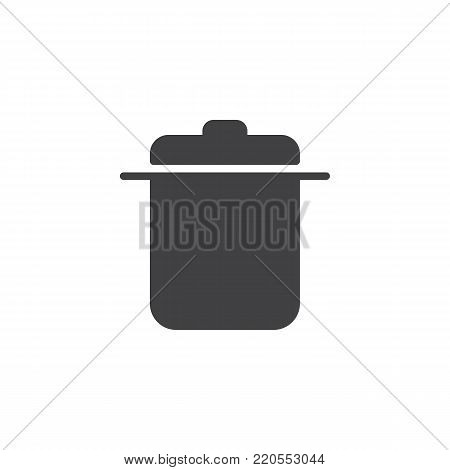 Saucepan icon vector, filled flat sign, solid pictogram isolated on white. Casserole symbol, logo illustration.