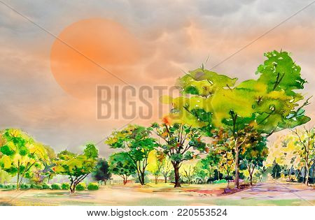 Abstract watercolor painting colorful of  flowers garden tree and grass with Live in the midst of global warming and what's going on sky background. Painted Impressionist, illustration.
