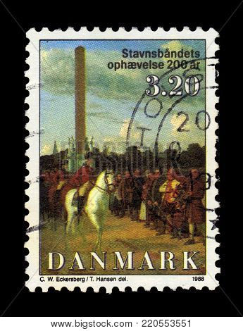 DENMARK - CIRCA 1988: A stamp printed in Denmark shows King Frederick on horseback, painting by danish painter Christoffer Wilhelm Eckersberg, 200th anniversary of abolition of adscription, circa 1988