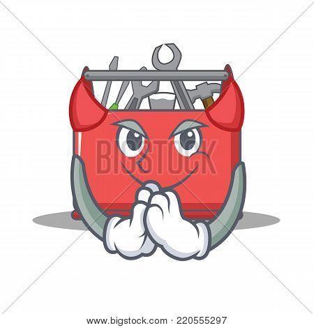 Devil tool box character cartoon vector illustration