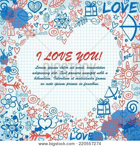 Valentines day template with text love confession ink stains hand drawn elements on paper note vector illustration