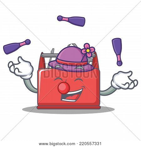 Juggling tool box character cartoon vector illustration