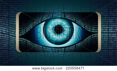 The all-seeing eye of Big brother in your smartphone, concept of permanent global covert surveillance using mobile devices, security of computer systems and networks, privacy poster